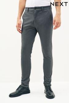 Dark Grey Skinny Fit Stretch Chino Trousers