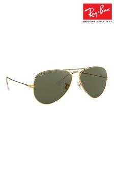 Ray-Ban® Gold Large Aviator Polarised Lens Sunglasses