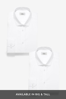 White Slim Fit Cotton Shirts Two Pack