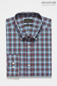 Burgundy Signature Check Slim Fit Shirt
