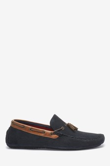 Navy Leather Tassel Driving Shoes
