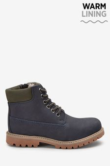 Navy Leather Work Boots (Older)