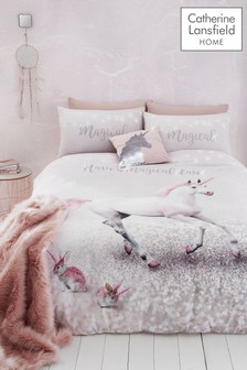 Catherine Lansfield Pink Enchanted Unicorn Duvet Cover and Pillowcase Set