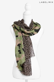Mix/Rose And Rose Camo Leopard Scarf