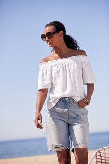 White Flute Sleeve Top With Linen