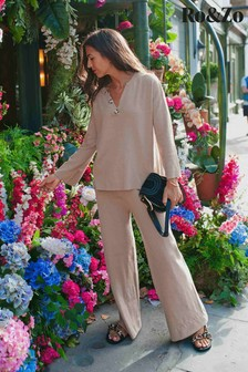 Ro&Zo Camel Knitted Wide Leg Trousers
