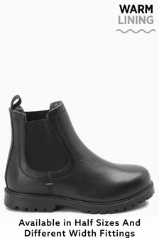 Black Warmed Lined Leather Chelsea Boots (Older)