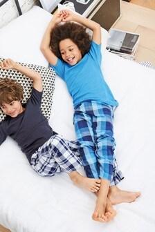 e0f7cefc7e Blue Woven Check Pyjamas Two Pack (3-16yrs)