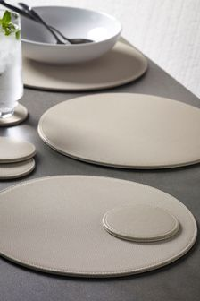 Set of 4 Cream Round Textured Reversible Faux Leather Placemats And Coasters