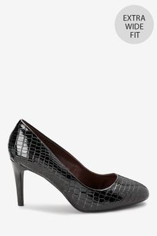Black Croc Effect Extra Wide Fit Almond Toe Court Shoes