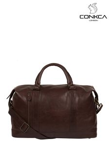 Conkca Dark Brown Rivellino Leather Holdall