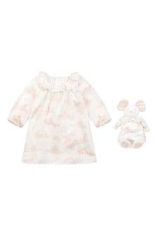 Baby Girls Pink Cotton Dress & Soft Toy Set