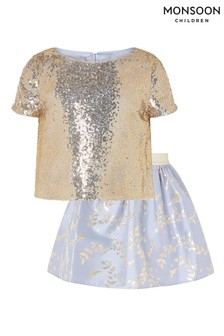 Monsoon Blue Sequin Skirt And Top Set
