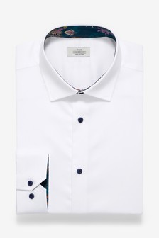 White Skinny Fit Single Cuff Contrast Trim Shirt