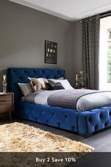 Opulent Velvet Navy Harper Buttoned Bed