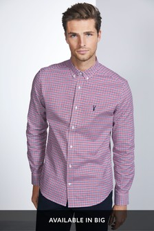 Red Regular Fit Gingham Long Sleeve Stretch Oxford Shirt