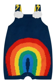 Baby Knitted Navy Rainbow Bodysuit