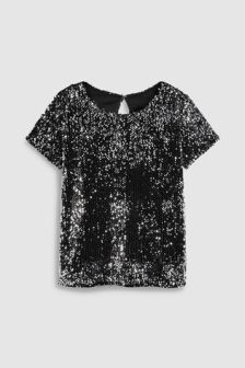 Black/Silver  Sequin Tee