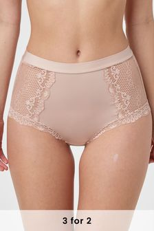 Light Pink High Rise Microfibre And Lace Knickers