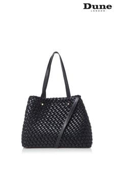 Dune London Dovens Black Plain Synthetic Large Woven Shopper Bag