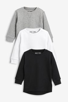 Monochrome 3 Pack Textured Long Sleeve T-Shirts (3mths-7yrs)