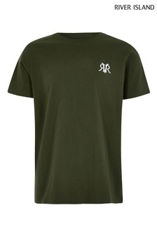 River Island Khaki Embroidery T-Shirt
