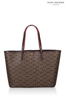 Kurt Geiger London Brown Monogram Richmond Shopper Bag