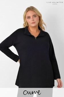 Live Unlimited Curve Black Zip Front Sweatshirt