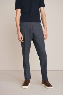 Blue Slim Fit Check Formal Trousers