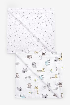 Print 2 Pack Animal And Star Muslin Squares