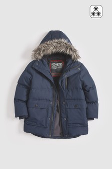 Navy  Longline Padded Faux Fur Lined Parka (3-16yrs)