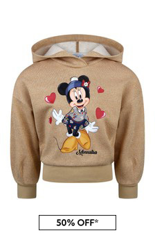 Girls Gold Glittery Fringed Minnie Mouse Sweater