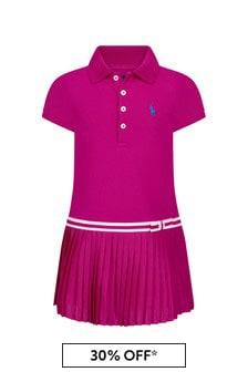 Ralph Lauren Kids Girls Purple Cotton Dress