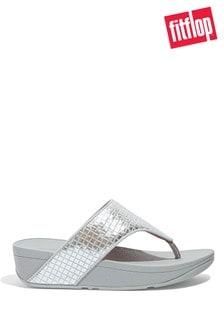 FitFlop Silver Olive Metallic Raffia Toe-Post Sandals