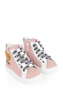 Girls Pink Teddy Trainers