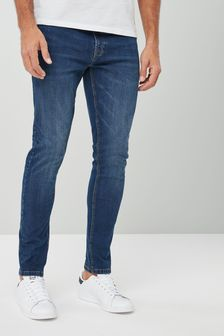 Mid Blue Skinny Fit Jeans With Stretch