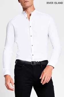 River Island White Grandad Muscle Fit Shirt
