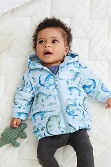 Blue Dinosaur Hooded Coat (0mths-2yrs)