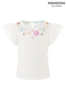 Monsoon White Gem Neckline T-Shirt