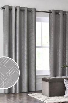 Velvet Metallic Geo Eyelet Lined Curtains