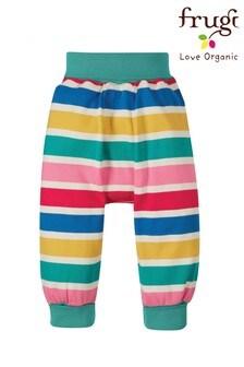 Frugi Pink Rainbow Stripe GOTS Organic Harem Style Trousers