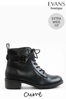 Evans Curve Extra Wide Fit Black Buckle Comfort Boots