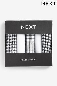 Black/White/Grey Handkerchiefs Five Pack