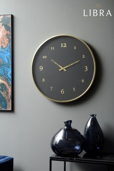 Libra Black And Brass Steel Wall Clock