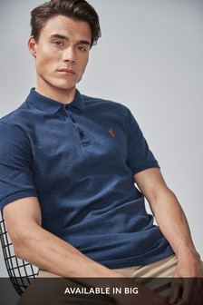 Navy Marl Regular Fit Pique Poloshirt