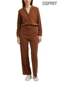 Esprit Brown Belted Jumpsuit