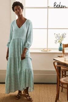 Boden Blue Blouson Sleeve Maxi Dress