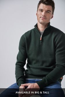 Green Cotton Premium Zip Neck Jumper