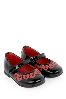 Girls Black Leather Logo Ballerina Shoes