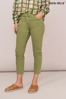 White Stuff Green Straight Crop Jeans